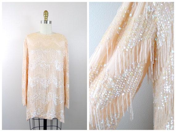 VTG Fringe Beaded Sheer Silk Long Tunic / Drop Bea