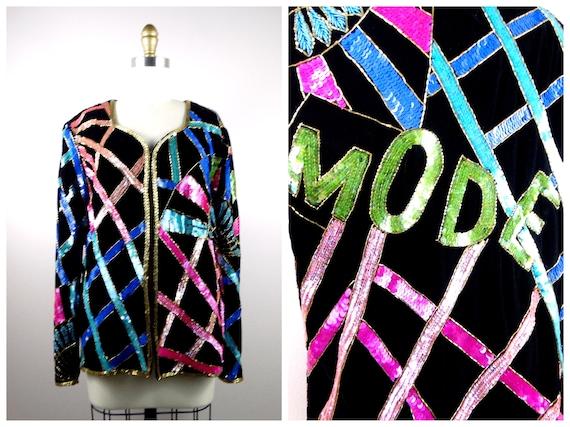 Art Deco MODE Sequin Jacket // Velvet Sequined Bea