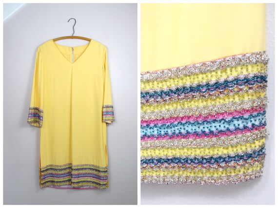 60s Yellow Beaded Dress • Retro Embellished Mod Dr