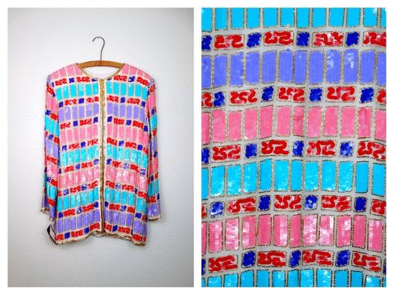 S/M Pastel Sequin Embellished Blazer / Vintage Col