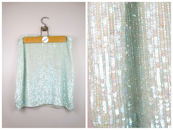 Iridescent Beaded Sequin Embellished Skirt // Sky