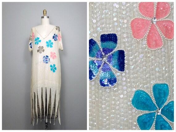 Art Deco Sequin Flapper / Pastel Floral Pearl Bead