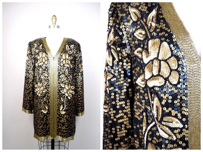 75eff5a3912 VTG Gold Sequin Kimono Jacket   Bohemian Novelty Open Kaftan