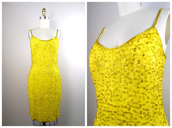 S/M Yellow Silk Beaded Dress / Bright Fully Embell