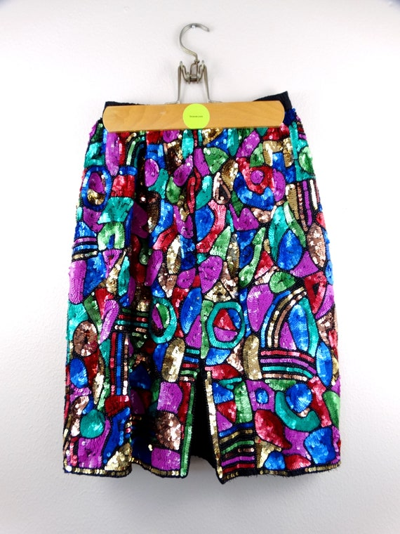 S/M Bright Sequin Embellished Skirt // Abstract S… - image 3