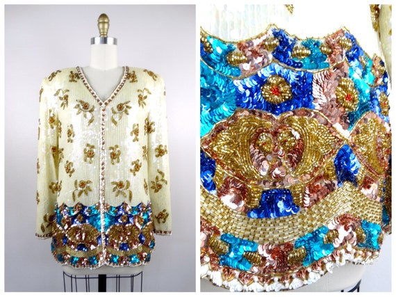 S/M Beaded Sequined Top // Ivory Sequined Gold Bea