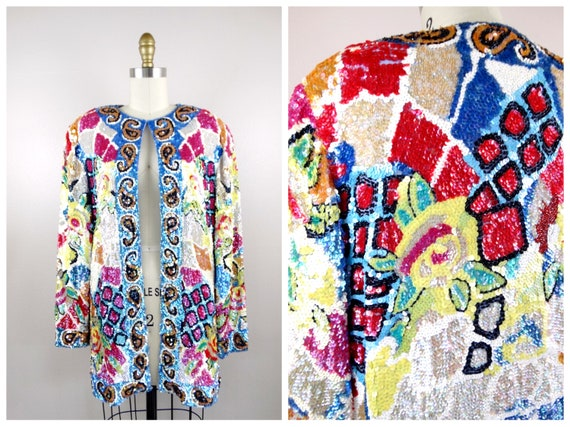 STUNNING Iridescent Pastel Sequined Jacket / Brigh