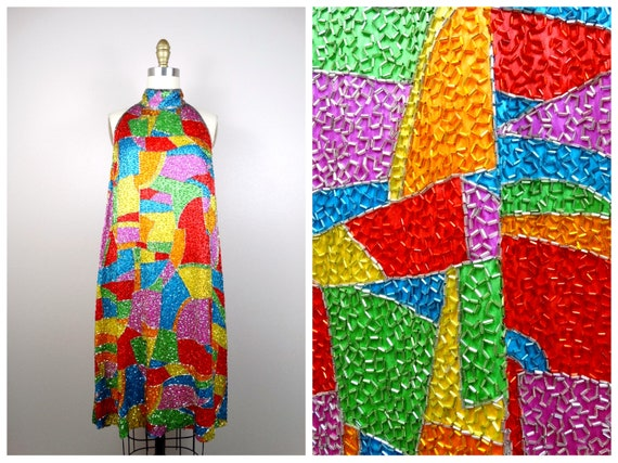 Rainbow All Beaded Dress // Heavily Embellished Dr
