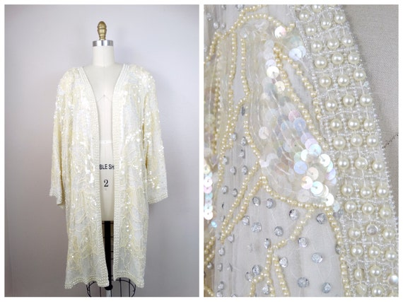 Ivory Pearl Beaded Sequined Long Jacket // Sequin