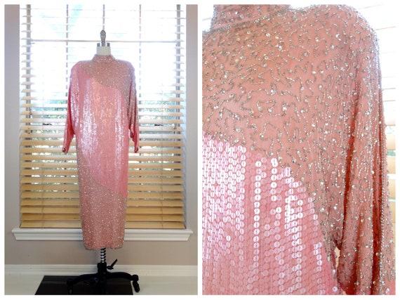 VTG Pink Beaded Sequined Dress // Pastel Sequin Em