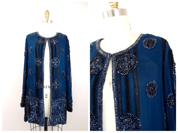 Teal Beaded Evening Jacket / Dark Turquoise Embell