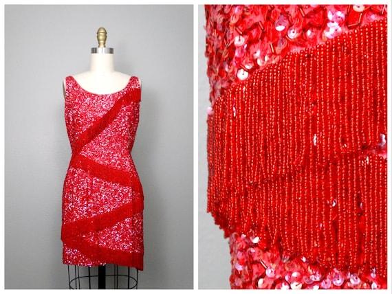 Vintage Fringe Beaded Wiggle Dress / 50s 60s EXQUI