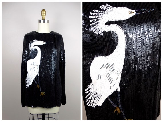 TALL BIRD Sequined Top / Fully Sequined Blouse / N