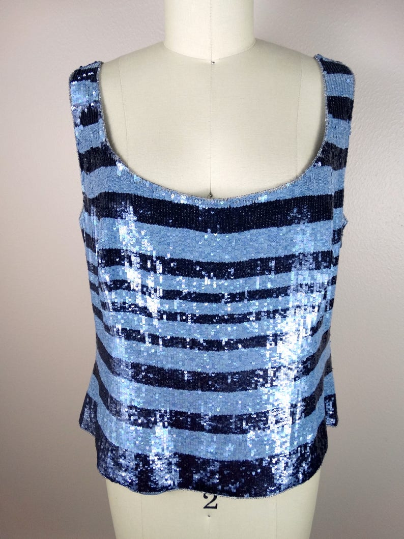 ESCADA Striped Sequin Top  Fully Sequined Beaded Designer Top Size 44