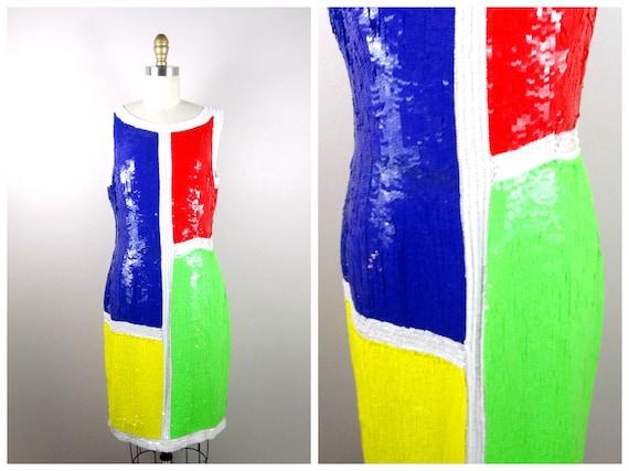 90s NEON Color Block Sequin Party Dress / Geometri