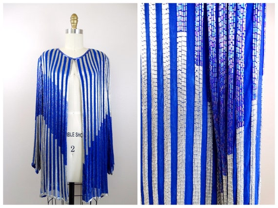 HEAVY Beaded Blazer // Royal Blue and Silver Beade