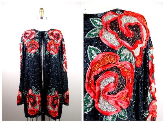 NAEEM KHAN Beaded Roses Evening Jacket / Vintage C