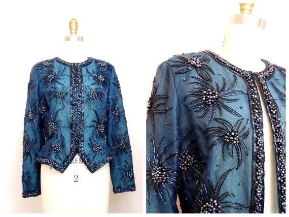 S/M Teal Beaded Evening Jacket / Turquoise Embelli