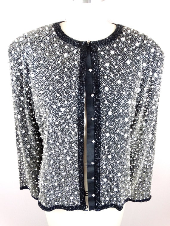 Heavy Pearl Beaded Jacket // Heavily Beaded Blaze… - image 2