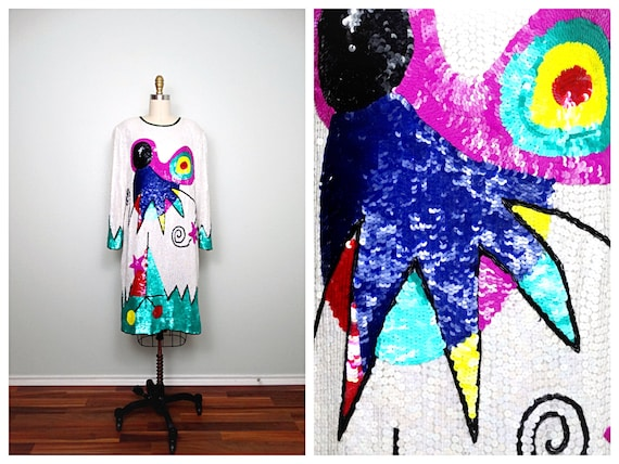 Abstract Art Sequin Dress ‣ Colorful Pop Deco Sequ