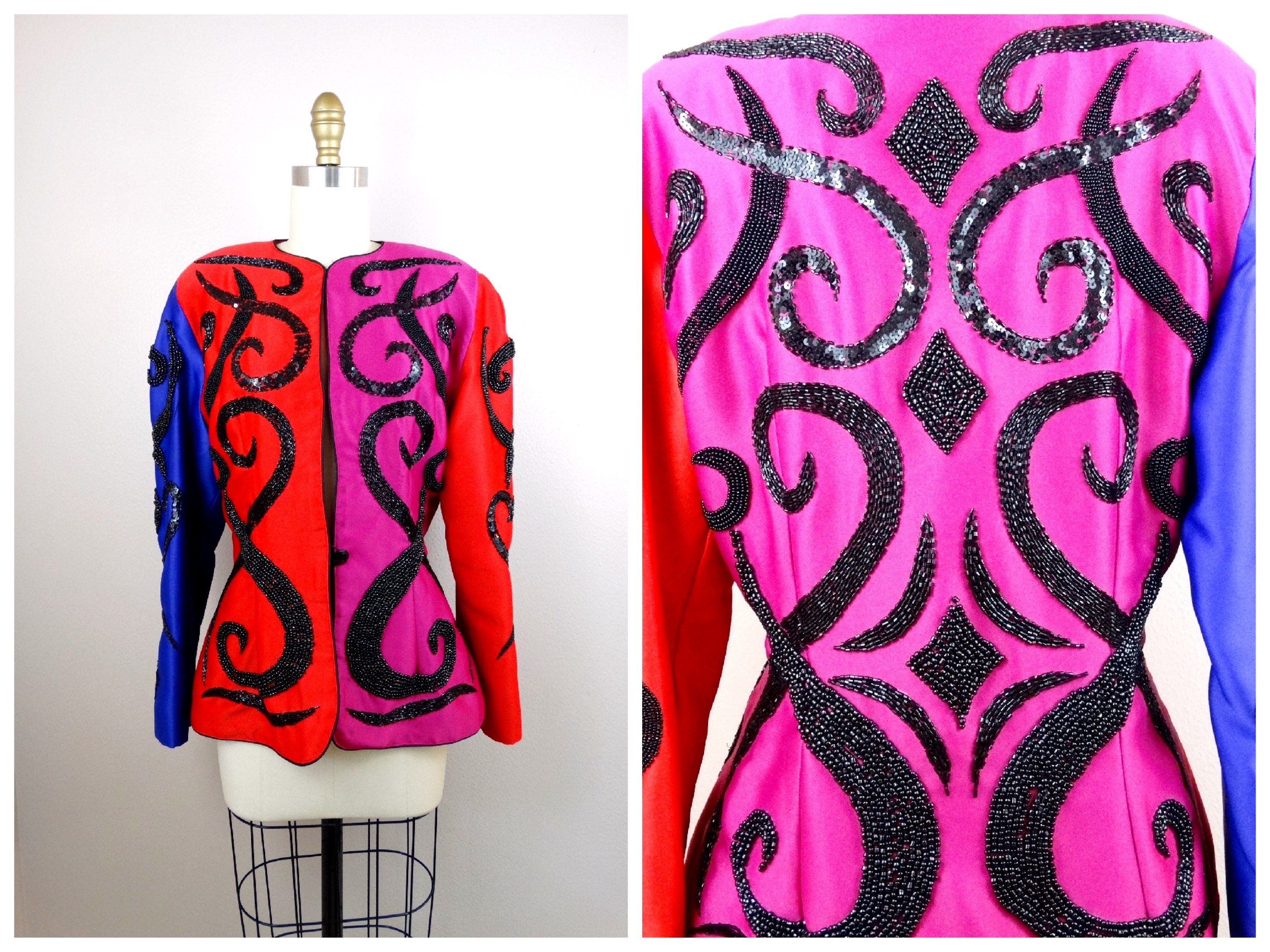 80s 90s Color Block Deco Beaded Sequin Blazer Cherry Red Etsy