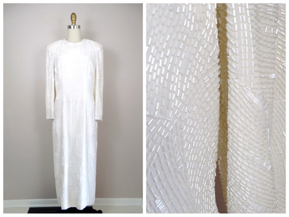 HEAVY All Beaded Wedding Gown // Couture Vintage W