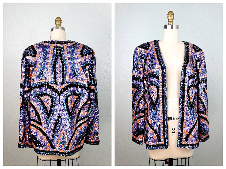 Daftar Harga Violet Floral Blazer Termurah 2018 Womenamp039s Retro 3 4 Sleeve Denim Slim Bubble T Shirt Dress Heavy Beaded Sequin Trophy Jacket Heavily Sequined Etsy