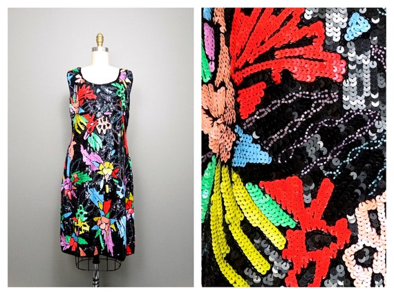 M/L Color Pop Sequin Dress // Abstract Neon Sequin