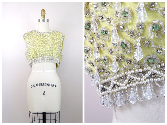 60's HEAVY Clear Beaded Crop Top // Chartreuse Gre