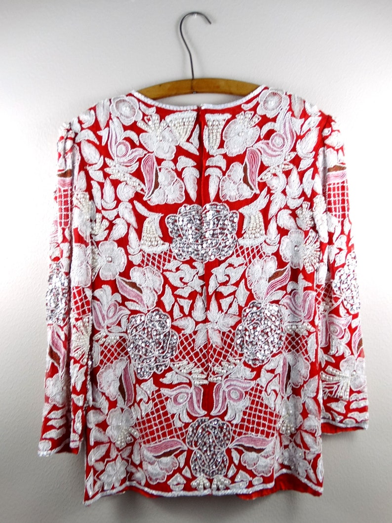 Heavy Pearl Beaded Blouse  Bright White Pearl Embellished Red Silk Top  Art Deco Beaded Sequined Top