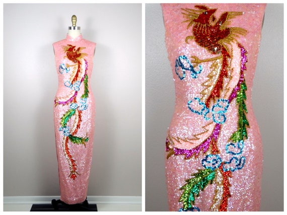 VTG All Sequined Cheongsam Gown / Mandarin Party D