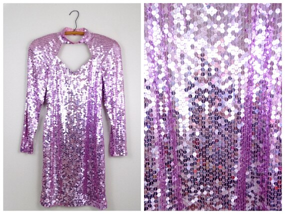 Bubblegum Pink Sequined Dress • Bright 80s Sequin
