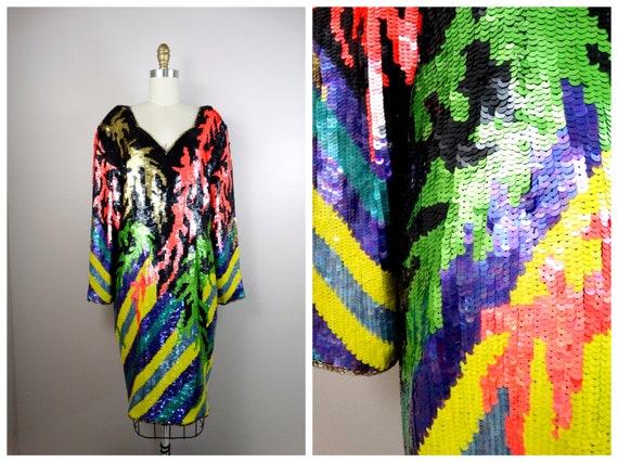 1x | Color Pop Sequined Dress // Neon Sequin Beade