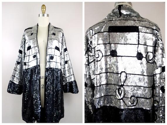 Musical Notes Sequined Novelty Kimono Jacket // Bl