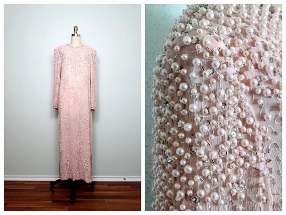Vintage Pearl Beaded Sequined Dress // Pastel Pink