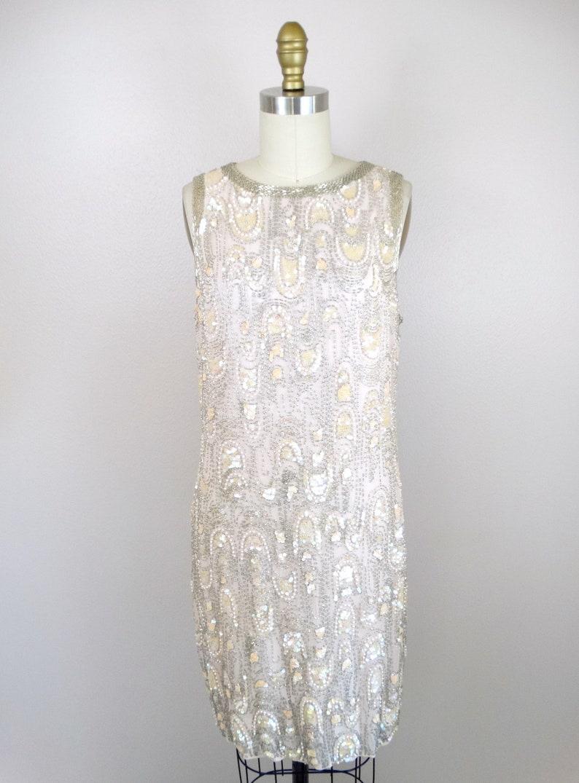 ML Heavy Pearl Beaded Sequin Dress w Overcoat  Pastel Pink Silk Iridescent Sequined Dress  Mother of the Bride Dress w Long Blazer