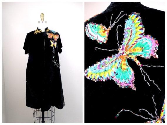 30s 40s Velvet Embellished Evening Coat / Embroide