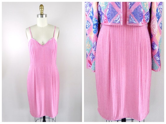 Vintage Pink Beaded  Dress ‣ Pastel Pink Beaded Dr