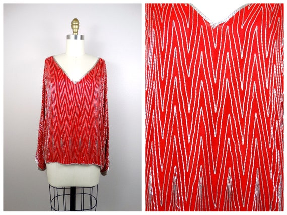 d9e75f9741848 Vintage Beaded Blouse   Retro Glam Red Embellished Long