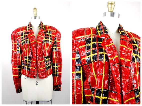 M/L Tartan Sequin Jacket // Vintage Red Plaid Sequ