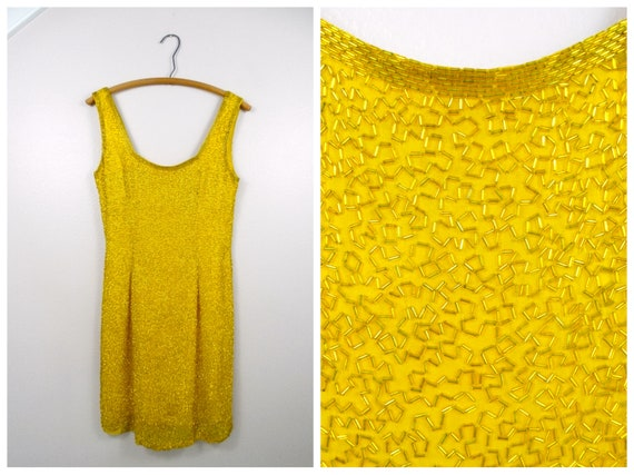 S/M Yellow Silk Beaded Dress / Bright Fully Embel… - image 1