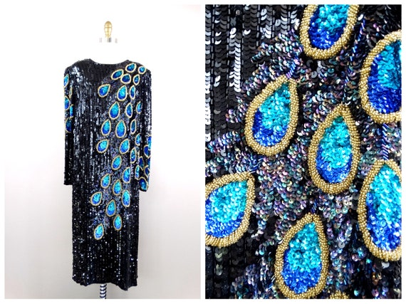 1x/2x Fully Beaded Sequined Dress / Art Deco Peaco