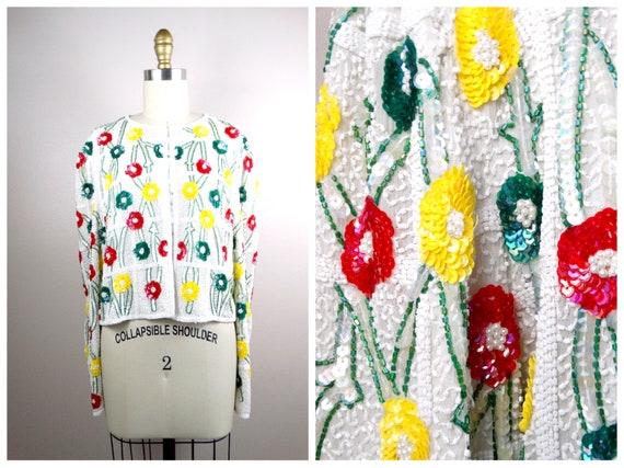 M/L Vtg White Beaded Floral Sequined Jacket / Brig