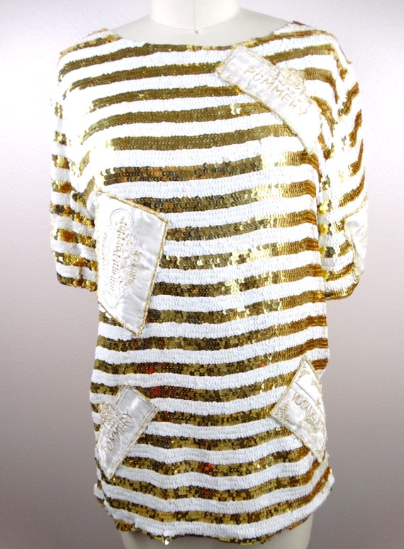 Retro Flashy Sequined Top Skirt by Lillie Rubin  White and Gold Striped Sequin Embellished Glam Ensemble  International Flags Dress