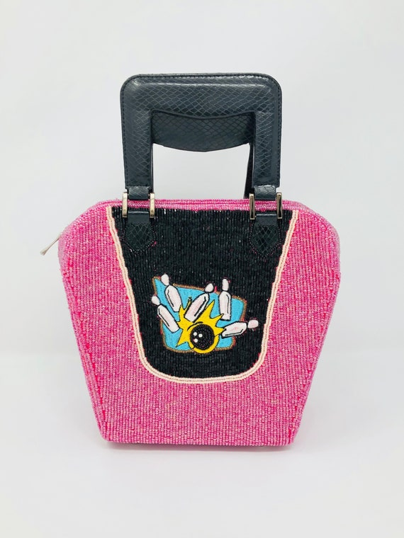 Novelty Beaded Bowling Purse // Pink Beaded Square