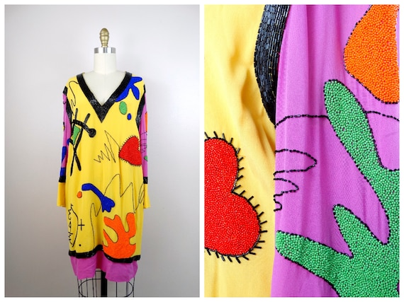 M | Pop Art Beaded Sequin Dress / 90s Funky Neon S