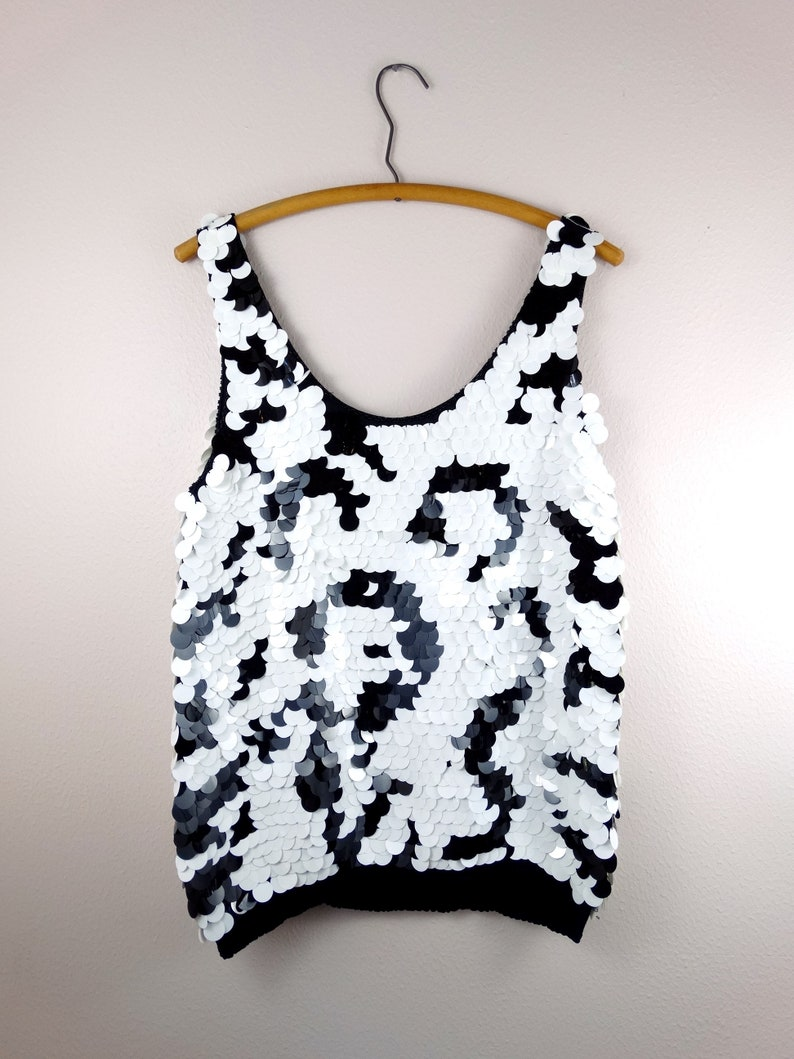 VTG Paillette Sequin Evening Top  Black and White Sequined Formal Tank Top