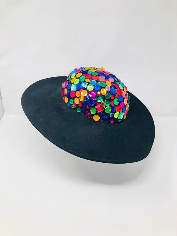 90s Vintage Jewel Beaded Cartwheel Hat / Bejeweled