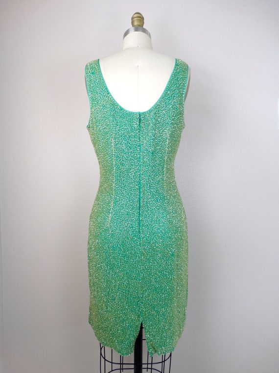 M/L Spring Green Yellow Beaded Dress / Amazing He… - image 4