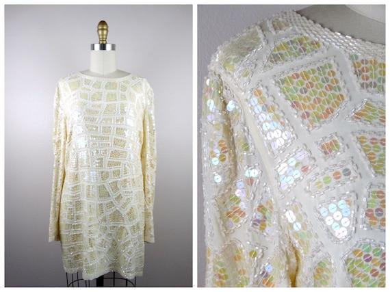Vintage Iridescent Sequin Embellished Mini Dress /